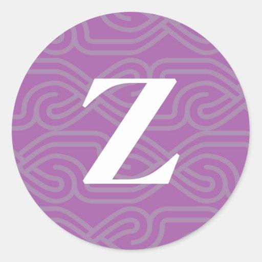 Monograma adornado de Knotwork - letra Z Etiqueta Redonda