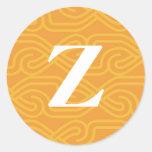 Monograma adornado de Knotwork - letra Z Pegatina Redonda