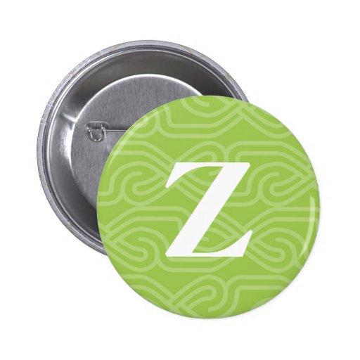 Monograma adornado de Knotwork - letra Z Pin Redondo 5 Cm