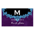 Monograma adornado del marco del vintage azul que  plantilla de tarjeta de visita