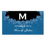 Monograma adornado del marco del vintage azul que  tarjetas de visita