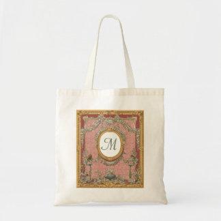 Monograma adornado enmarcado tapicería floral del bolsa