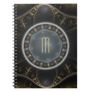 Monograma adornado metálico del fractal de spiral notebook