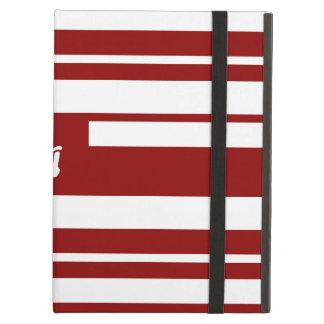 Monograma al azar rojo oscuro y blanco de las