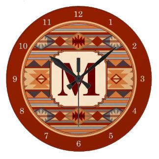 Monograma al sudoeste del diseño reloj redondo grande