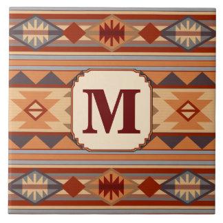 Monograma al sudoeste del moreno del diseño azulejo cuadrado grande