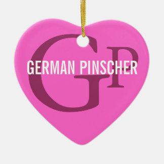 Monograma alemán de la raza del Pinscher Adorno Navideño De Cerámica En Forma De Corazón