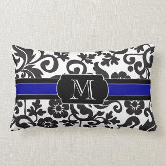 Monograma, almohada de tiro blanco y negro, floral cojín lumbar
