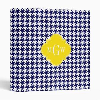 "Monograma amarillo blanco de Houndstooth Carpeta 1"""