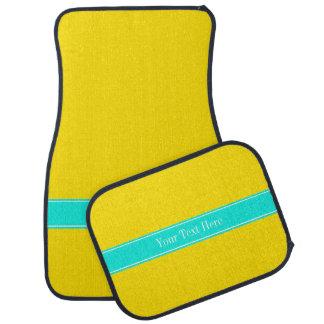 Monograma amarillo, brillante sólido del nombre de alfombrilla de auto