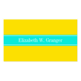 Monograma amarillo, brillante sólido del nombre de tarjetas de visita