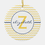 Monograma amarillo de Chevron Ornamento De Navidad