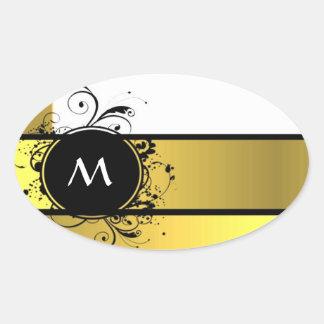 Monograma amarillo de la mostaza calcomanías de ovaladas