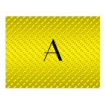 Monograma amarillo de los lunares postal