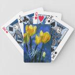 Monograma amarillo de los tulipanes cartas de juego
