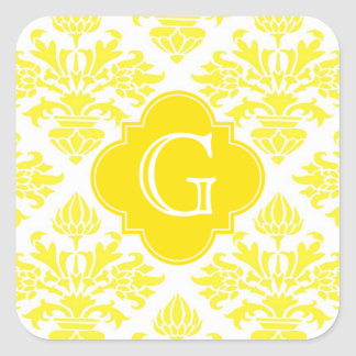 Monograma amarillo de Quatrefoil del amarillo del Pegatina Cuadrada