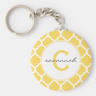 Monograma amarillo de Quatrefoil Llavero Personalizado