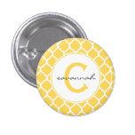 Monograma amarillo de Quatrefoil Pin Redondo 2,5 Cm