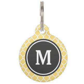 Monograma amarillo de Quatrefoil Placas Para Mascotas