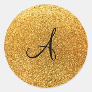 Monograma amarillo del brillo pegatina redonda