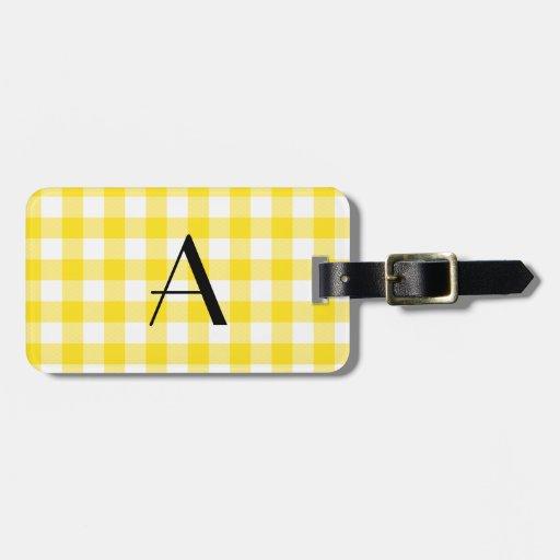Monograma amarillo del modelo de la guinga etiquetas de equipaje