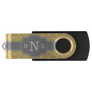 Monograma amarillo femenino del gris del modelo pen drive giratorio USB 2.0
