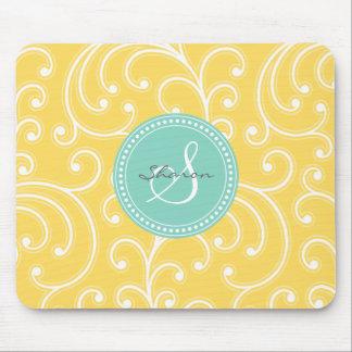Monograma amarillo femenino elegante del estampado tapete de ratones