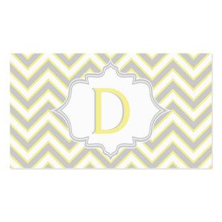 Monograma amarillo, gris moderno del galón tarjetas de visita
