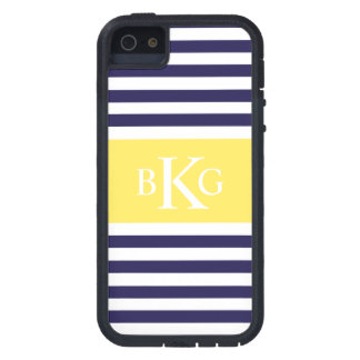 Monograma amarillo limón de las rayas de la marina iPhone 5 Case-Mate protectores