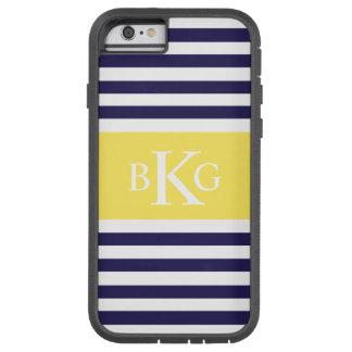Monograma amarillo limón de las rayas de la marina funda de iPhone 6 tough xtreme