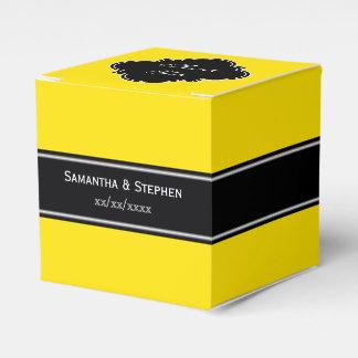 Monograma amarillo, negro del nombre de la cinta cajas para regalos de fiestas
