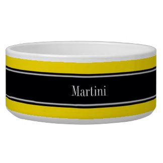 Monograma amarillo, negro del nombre de la cinta boles para gatos