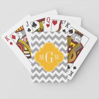 Monograma amarillo oscuro blanco gris de Chevron Baraja De Póquer
