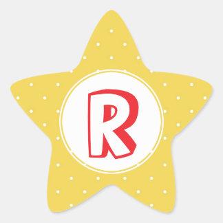 Monograma amarillo rojo del niño del lunar del pegatina en forma de estrella