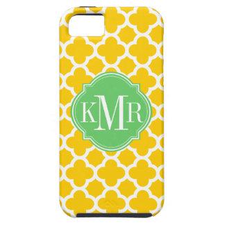 Monograma amarillo y blanco de Quatrefoil del mode iPhone 5 Cárcasa