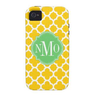 Monograma amarillo y blanco de Quatrefoil del mode iPhone 4/4S Carcasas