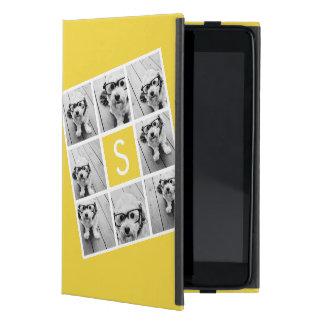 Monograma amarillo y blanco del personalizado del  iPad mini cárcasas