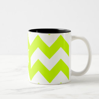 Monograma amarillo y blanco fluorescente del taza