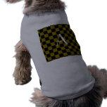 Monograma amarillo y brillo negro a cuadros camisa de mascota