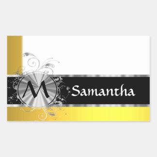 Monograma amarillo y de plata pegatina rectangular