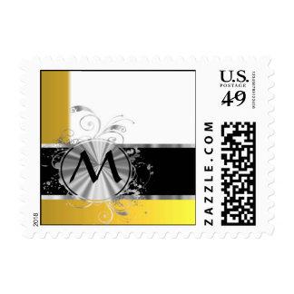 Monograma amarillo y de plata timbre postal