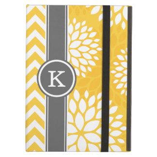Monograma amarillo y gris Chevron y floral