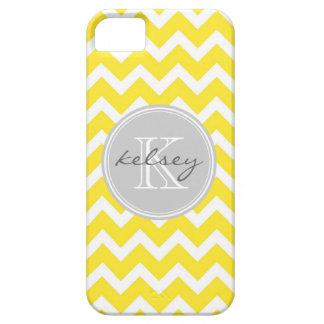 Monograma amarillo y gris del personalizado de iPhone 5 Case-Mate funda