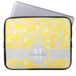 Monograma amarillo y gris del personalizado del di mangas portátiles