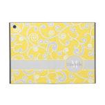 Monograma amarillo y gris del personalizado del di iPad mini carcasas