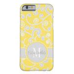 Monograma amarillo y gris del personalizado del funda para iPhone 6 barely there