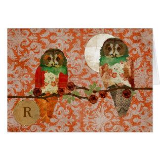 Monograma ambarino Notecard del damasco de los búh