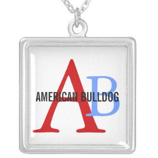 Monograma americano de la raza del dogo colgante cuadrado