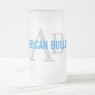Monograma americano de la raza del dogo tazas de café