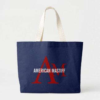 Monograma americano de la raza del mastín bolsa de mano